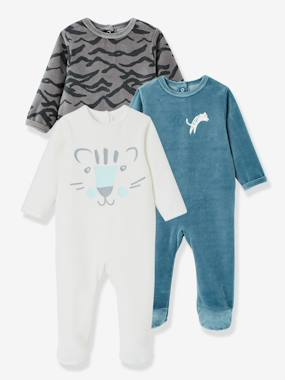 Baby-Pyjamas-Pack of 3 Baby Velour Pyjamas, Front Press-Studs