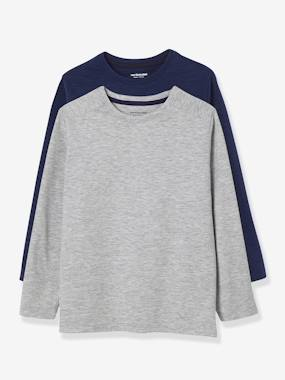 Boys-Tops-Pack of 2 Long-Sleeved T-Shirts