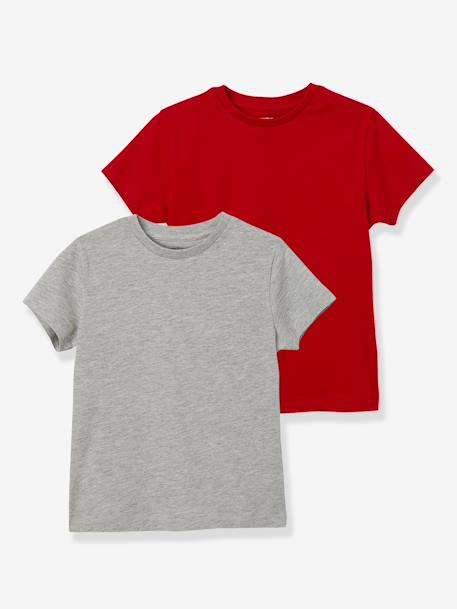 Boys' Pack of 2 Short-Sleeved T-Shirts BLUE DARK TWO COLOR/MULTICOL+RED DARK 2 COLOR/MULTICOLOR - vertbaudet enfant