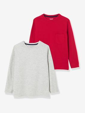 Vertbaudet Sale-Boys-Tops-Pack of 2 Long-Sleeved T-Shirts