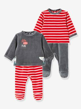 Baby-Pyjamas-Pack of 2 Baby Two-Piece Pyjamas in Velour Fabric