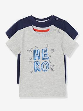 T-shirts-Pack of 2 Baby Boys' Long-Sleeved T-Shirts with Decorative Motifs