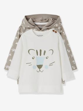 Vertbaudet Sale-Baby-Pack of 2 Baby Boys' T-Shirts with Tiger Motifs