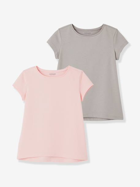 Girls' Pack of 2 Short-Sleeved T-Shirts BLACK DARK 2 COLOR/MULTICOL+BLUE DARK TWO COLOR/MULTICOL+PINK LIGHT 2 COLOR/MULTICOL R - vertbaudet enfant