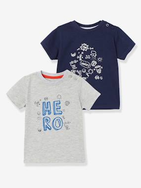 Baby-T-shirts & Roll Neck T-Shirts-Pack of 2 Baby Boys' Long-Sleeved T-Shirts with Decorative Motifs