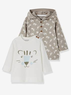 Vertbaudet Sale-Baby-T-shirts & Roll Neck T-Shirts-Pack of 2 Baby Boys' T-Shirts with Tiger Motifs