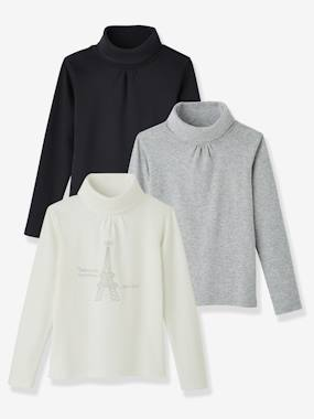 Outlet-Girls' Pack of 3 Undersweaters