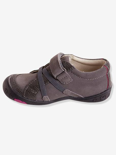 Girls' Leather Shoes, Designed for Autonomy BEIGE LIGHT METALISED+GREY MEDIUM SOLID - vertbaudet enfant