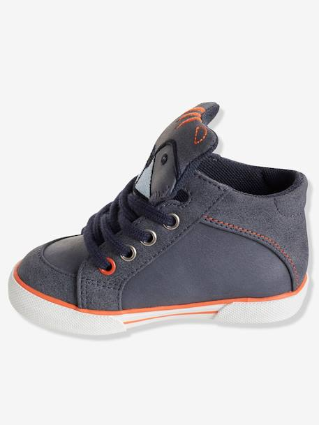 Boys' High-Top Trainers with Laces GREY MEDIUM SOLID - vertbaudet enfant