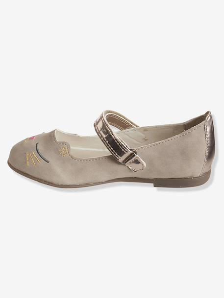 Ballerinas with Touch 'n' Close Fastening BEIGE DARK SOLID - vertbaudet enfant