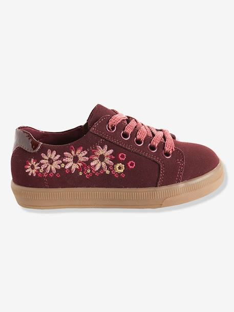 Girls' Embroidered Leather Trainers RED DARK SOLID - vertbaudet enfant