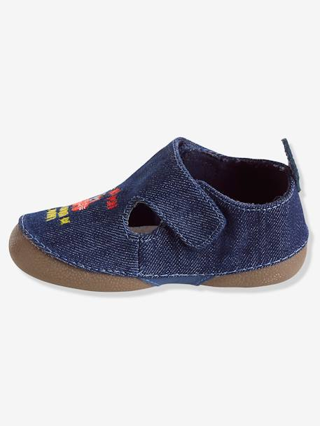 Baby Shoes in Denim Fabric BLUE MEDIUM SOLID - vertbaudet enfant