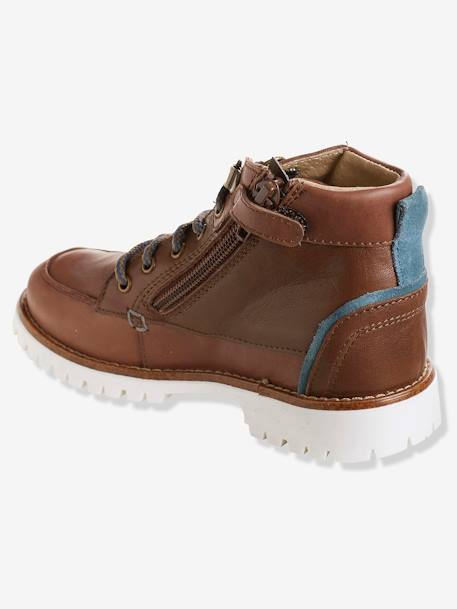 Boys' Leather Boots with Laces BROWN MEDIUM SOLID - vertbaudet enfant