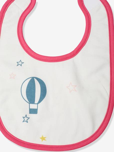 Vertbaudet Pack of 3 Coloured Bibs PINK LIGHT SOLID WITH DESIGN+WHITE LIGHT ALL OVER PRINTED - vertbaudet enfant
