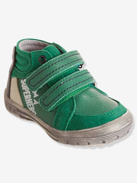 Boys' Leather Boots with Touch 'n' Close Fastening GREEN MEDIUM SOLID+GREY MEDIUM SOLID - vertbaudet enfant