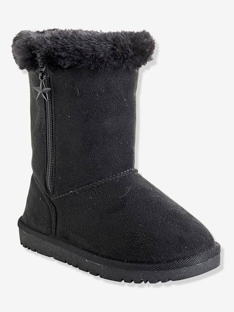Girls' Boots with Fur BEIGE LIGHT METALISED+BEIGE MEDIUM METALLIZED+BLACK DARK SOLID+BLUE DARK ALL OVER PRINTED - vertbaudet enfant