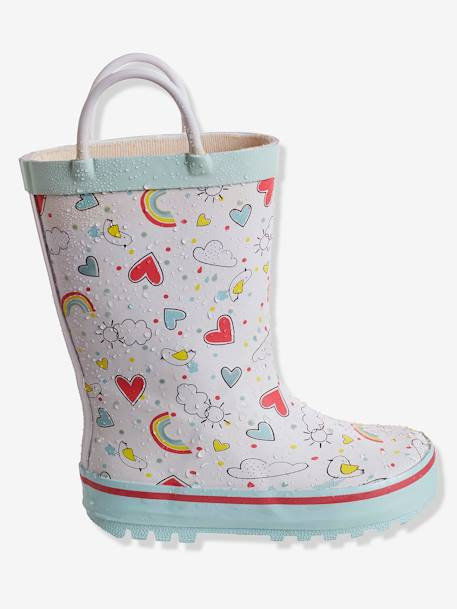 Girls' Wellies, Autonomy Collection WHITE LIGHT ALL OVER PRINTED - vertbaudet enfant
