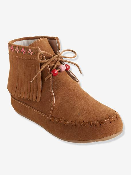 Girls' Leather Boots, with Embroidery & Fringes BLACK DARK SOLID+BROWN LIGHT SOLID+BROWN MEDIUM SOLID - vertbaudet enfant