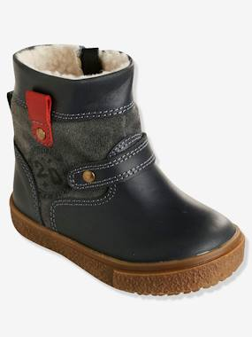 Shoes-Baby Footwear-Baby Boy Walking-Boys' Leather Boots with Fur