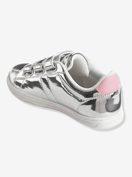 Girls' Stylish Trainers with Touch 'n' Close Tabs GREY LIGHT SOLID+PINK BRIGHT ALL OVER PRINTED+WHITE LIGHT SOLID WITH DESIGN - vertbaudet enfant