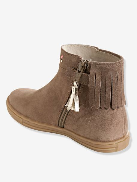 Girls' Leather Boots with Fringes BROWN LIGHT SOLID - vertbaudet enfant