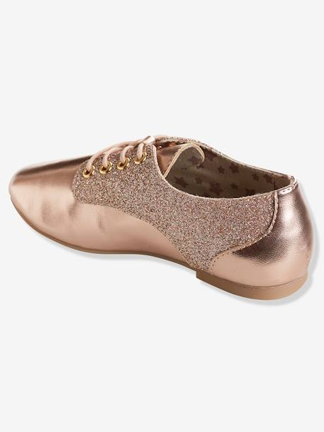 Girls' Derby Shoes with Glittery Detail PINK LIGHT SOLID - vertbaudet enfant