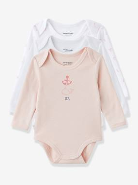 Schoolwear-Baby-Baby Pack of 3 Coloured Long-Sleeved Bodysuits, Yacht Motif, Organic Collection