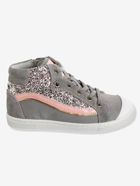 Shoes-Girls' Leather High-Top Trainers with Glitter