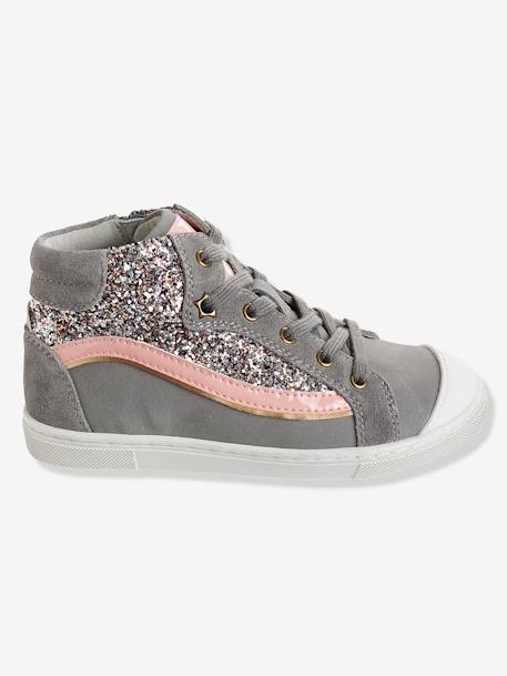 Girls' Leather High-Top Trainers with Glitter GREY MEDIUM SOLID WITH DESIGN+PINK MEDIUM SOLID WITH DESIG - vertbaudet enfant