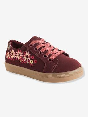 Megashop-Shoes-Girls Footwear-Girls' Embroidered Leather Trainers