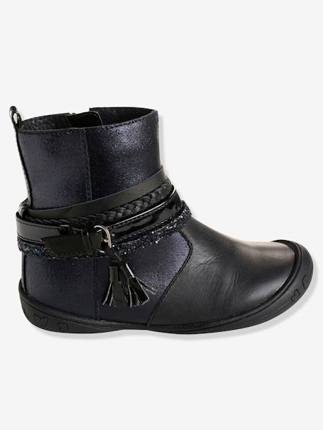 Girls' Leather Boots with Stylish Tabs BLACK DARK SOLID - vertbaudet enfant