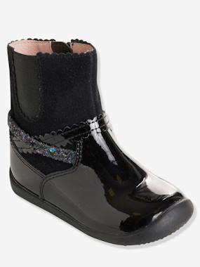 Vertbaudet Sale-Shoes-Girls' Leather Boots with Elastic on the Side