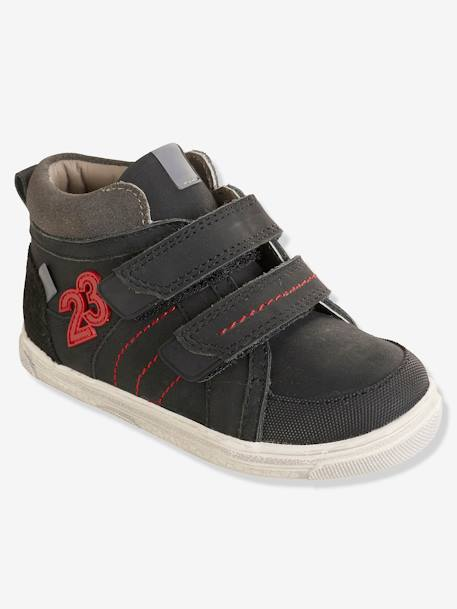Boys' Leather High-Top Trainers, Autonomy Collection BLACK DARK SOLID - vertbaudet enfant