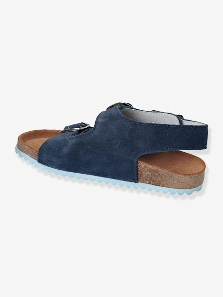 Boys Leather Sandals Blue+Grey - vertbaudet enfant