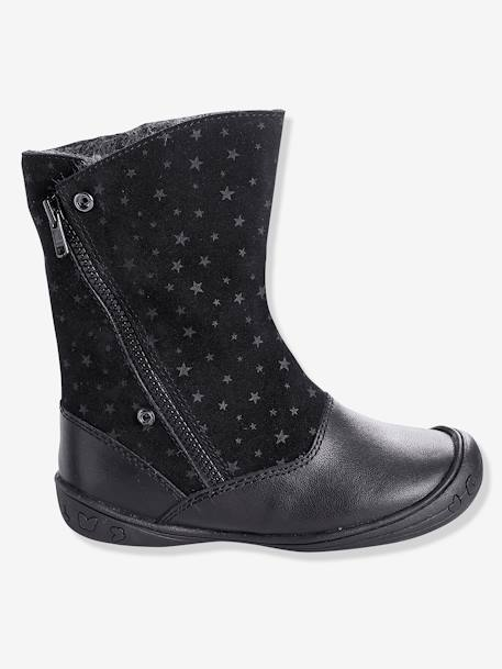 Girls' Leather Boots BLACK DARK ALL OVER PRINTED+BROWN LIGHT SOLID - vertbaudet enfant
