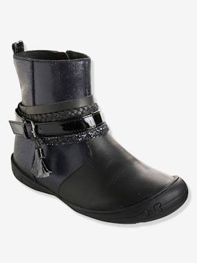 Outlet-Girls' Leather Boots with Stylish Tabs
