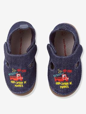 Shoes-Baby Footwear-Slippers & Booties-Baby Shoes in Denim Fabric