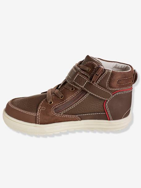Boys' Leather Ankle Boots BLUE DARK SOLID+BROWN MEDIUM 2 COLOR/MULTICOL - vertbaudet enfant