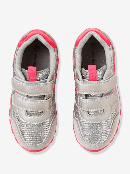 Girls' Glittery Trainers with Touch 'n' Close Tabs GREY MEDIUM METALLIZED - vertbaudet enfant