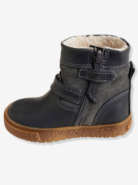 Boys' Leather Boots with Fur GREY DARK SOLID - vertbaudet enfant