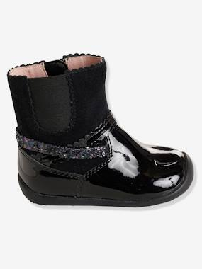 Shoes-Baby Footwear-Girls' Leather Boots with Elastic on the Side