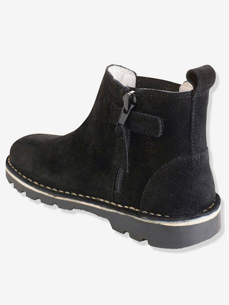 Boys' Leather Boots BLACK DARK SOLID+BROWN MEDIUM SOLID - vertbaudet enfant