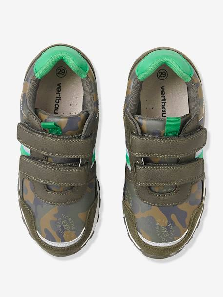 Boys' Touch 'N' Close Trainers BLUE DARK SOLID+GREEN MEDIUM ALL OVER PRINTED+GREY LIGHT SOLID - vertbaudet enfant