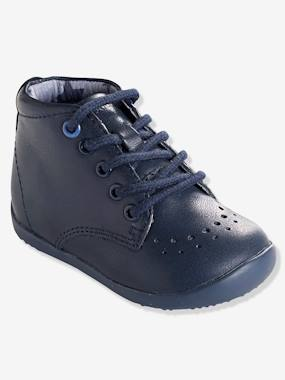 Vertbaudet Collection-Shoes-Boys' Leather Ankle Boots, Designed for First Steps