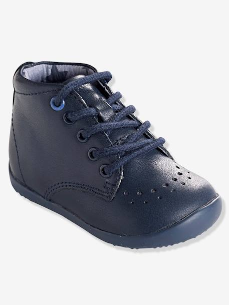 Boys' Leather Ankle Boots, Designed for First Steps GREY MEDIUM SOLID+Navy - vertbaudet enfant