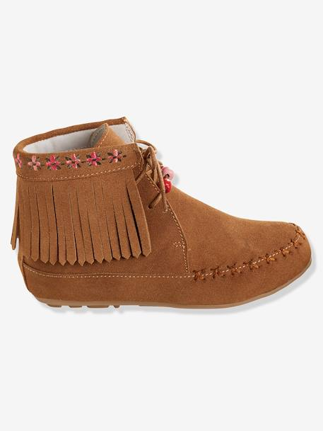 Bottines cuir fille broderies et franges CAMEL+Marron+NOIR - vertbaudet enfant