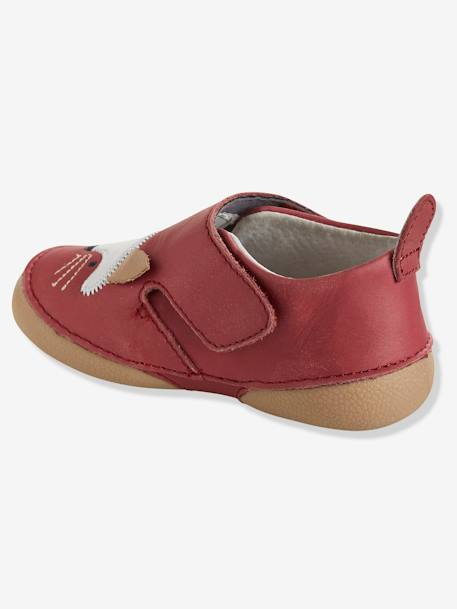 Baby Soft Leather Shoes RED MEDIUM SOLID - vertbaudet enfant