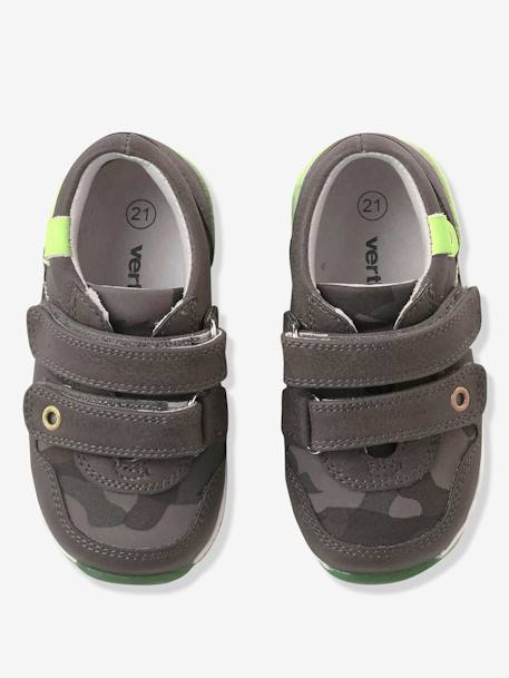 Boys' Trainers with Fluorescent Detail GREEN DARK SOLID WITH DESIGN - vertbaudet enfant