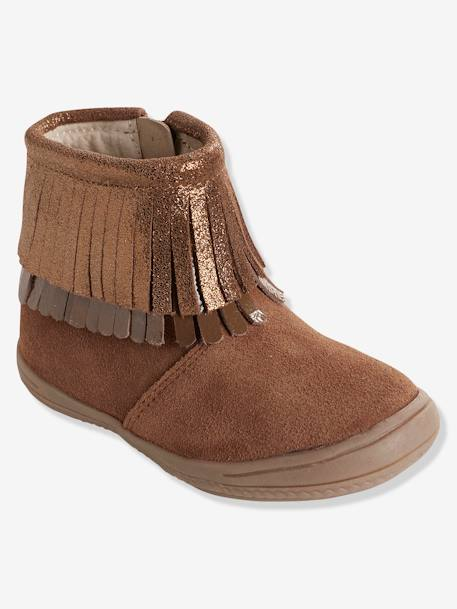Girls' Leather Boots with Fringes BROWN MEDIUM SOLID - vertbaudet enfant