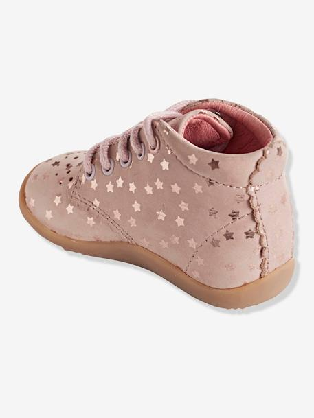 Girls' Leather Ankle Boots, Designed for First Steps BLUE DARK SOLID WITH DESIGN+Grey+PINK LIGHT ALL OVER PRINTED - vertbaudet enfant